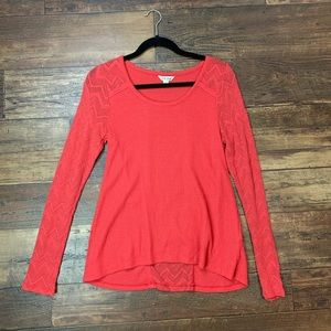 Lucky Brand Waffle knit top with crochet detail